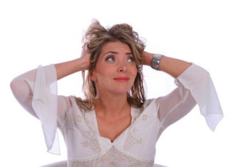 Stressed woman with blonde hair