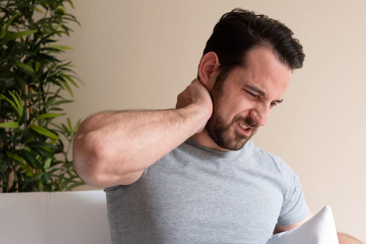 man in pain with fibromyalgia