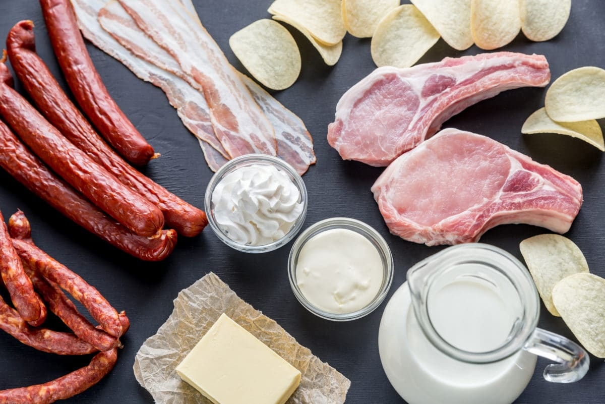 meat and dairy products on a table